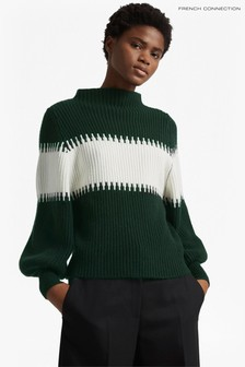 French Connection Green Sofia Balloon Sleeve Jumper
