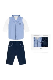Baby Boys Blue Shirt & Navy Trousers Set