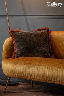 Gallery Direct Teal Velvet Fringed Two Tone Cushion