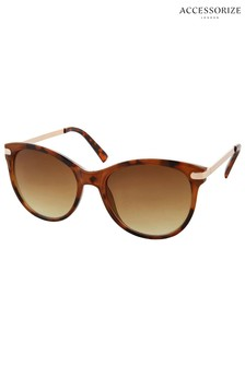 Accessorize Brown Rubee Flat Top Sunglasses
