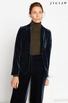 Jigsaw Blue Silk Velvet Blazer