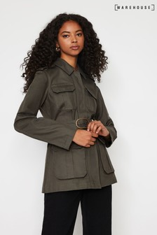 Warehouse Green Utility Belted Jacket
