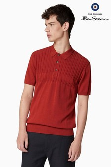 Ben Sherman Brown Textured Mod Stripe Polo
