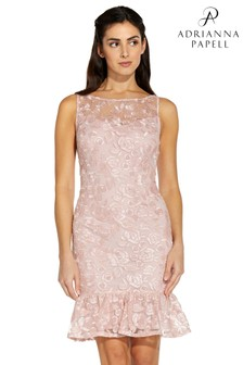 Adrianna Papell Pink Rosie Embroidery Flounce Dress