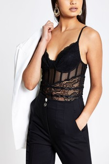 River Island Black Lace Corset Body T-Shirt