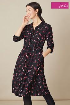 Joules Black Winslet Tulip Shirt Dress