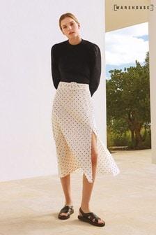 Warehouse Neutral Print Spot Belted Midi Skirt