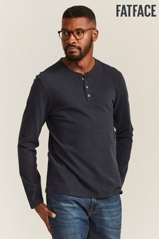 FatFace Blue Woodside Slub Henley T-Shirt
