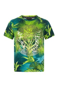 Boys Green Cotton Jungle Print T-Shirt