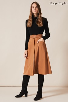 Phase Eight Brown Utility A-Line Skirt