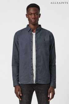 AllSaints Blue Hungtingdon Long Sleeve Shirt