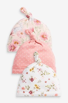 3 Pack Floral Tie Top Hats (0-18mths)