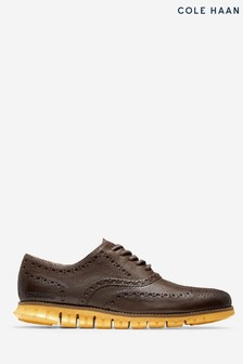 Cole Haan Brown Zerogrand Wing Oxford Lace-Up Shoes