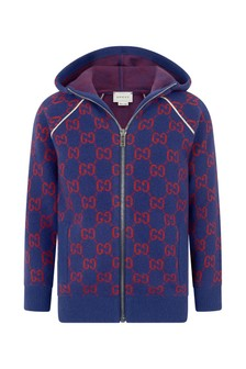 Boys Navy Wool GG Hooded Zip Up Cardigan