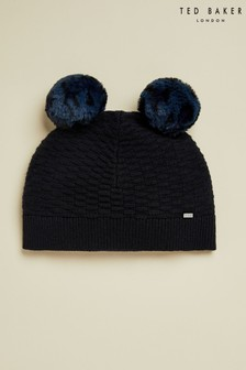 Ted Baker Blue Leysaai Double Pom Stitch Hat