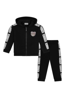 Kids Black Cotton Logo Tracksuit