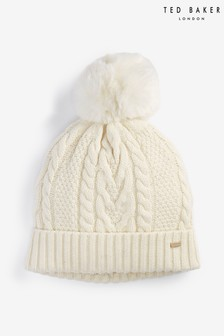 Ted Baker White Ynuta Cable Knit Pom Hat