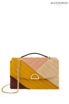 Accessorize Yellow Ayda Patchwork Shoulder Bag