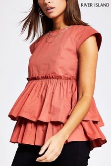 River Island Brown Poplin Peplum Top