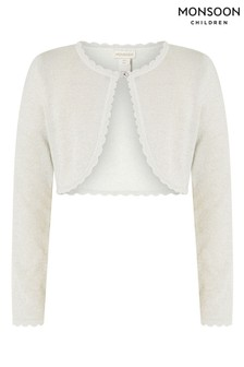 Monsoon Silver Niamh Shimmer Cropped Cardigan