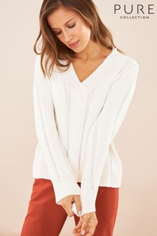 Pure Collection White V-Neck Cricket Sweater