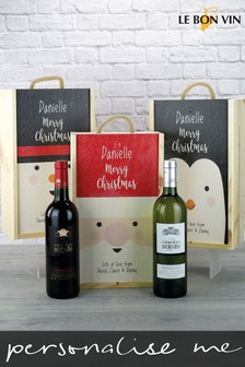 Personalised Bordeaux Wine Duo Wooden Gift Box by Le Bon Vin