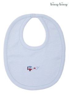Kissy Kissy Blue Hand Embroidered Aeroplane Bib