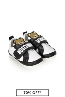 Moschino Kids Baby Boys White Leather Trainers