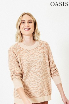Oasis Natural Feather Print Jumper