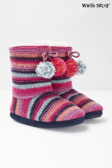 White Stuff Pink Stripe Slipper Booties