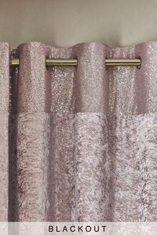 Pink Sequin Border Velvet Eyelet Lined Curtains
