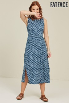 FatFace Blue Laurie Shibori Patch Midi Dress
