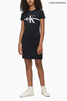 Calvin Klein Black Monogram Stripe T-Shirt Dress