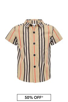 Baby Boys Beige Icon Stripe Cotton Shirt