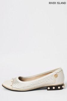 River Island White Ballet Pump Laser Cut Shoes
