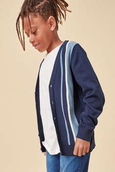 Vertical Stripe Button Through Cardigan (3-16yrs)