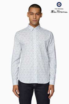 Ben Sherman White Long Sleeve Paisley Print Shirt