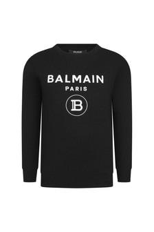 Balmain Boys Black Cotton Sweater