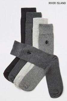 River Island Socken, Grau, 5er-Pack