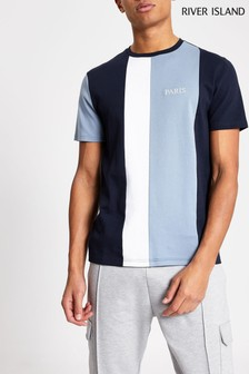 River Island Blue Slim Paris Blocking T-Shirt