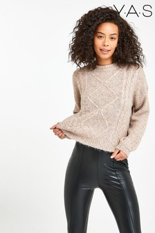 Y.A.S Soft Pink Cable Knit Lola Jumper