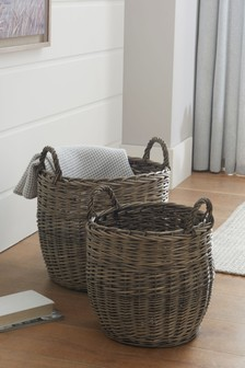 Set of 2 Woven Wicker Storage Baskets