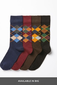 Heavyweight Wool Blend Argyle Pattern Socks Four Pack