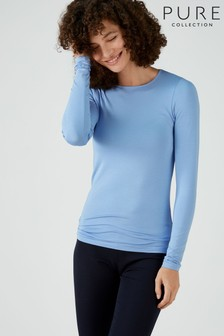 Pure Collection Blue Soft Jersey Crew Neck Top