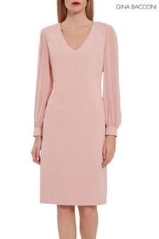 Gina Bacconi Pink Lenuta Crepe Dress