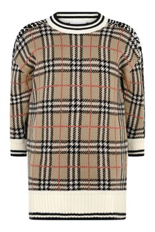 Girls Check & Leopard Wool Knitted Dress