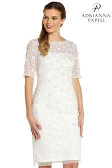 Adrianna Papell White Beaded Cocktail Dress