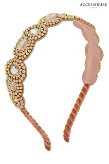 Accessorize Pink Blair Gem And Crystal Alice Band