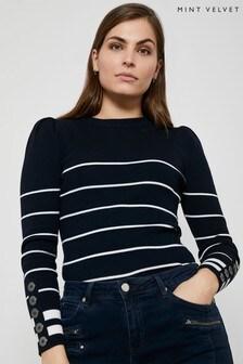 Mint Velvet Blue/Navy Stripe Puff Sleeve Jumper