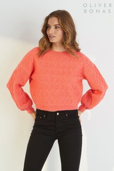 Oliver Bonas Pink Coral Stitch Knitted Jumper